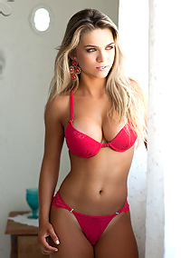 Tan Blonde On Her Pink Lingerie