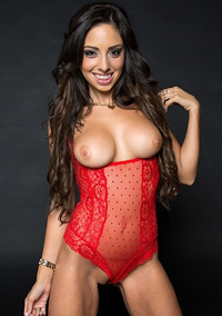 Trinity St Clair In Sexy Red Lace Bodysuit
