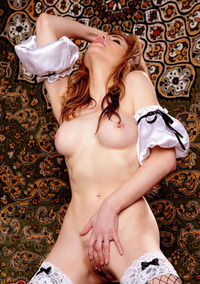 Redhead Candle Boxxx Strips Off Her Maid-Costume