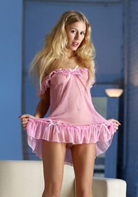 Pretty Blonde Teen Girl Candice In Pink Nighty